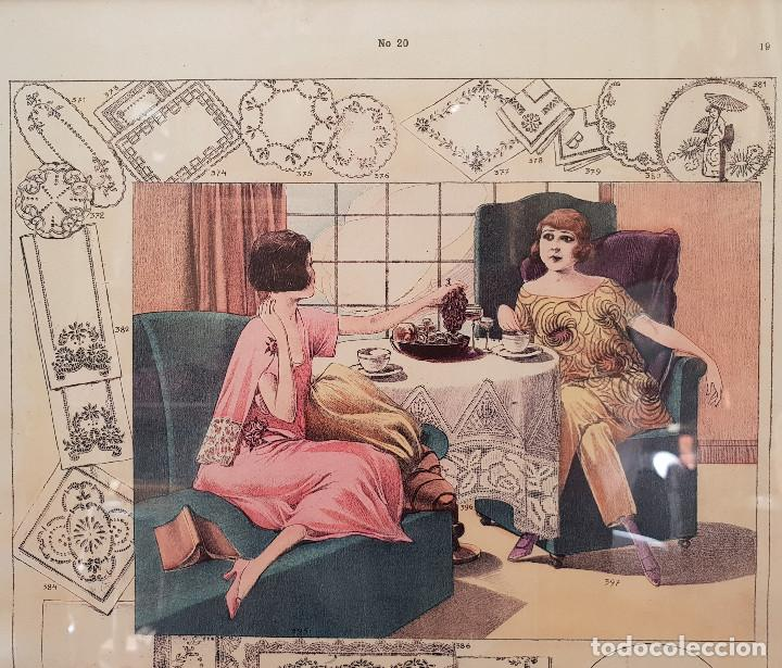 Antigüedades: 2. Taller de costura. Litografía enmarcada en marco de pino. Atelier. Moda. - Foto 2 - 287487923