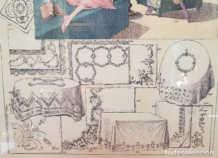 Antigüedades: 2. Taller de costura. Litografía enmarcada en marco de pino. Atelier. Moda. - Foto 3 - 287487923
