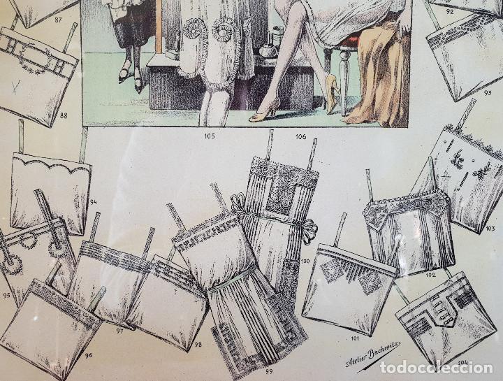 Antigüedades: 6. Taller de costura. Litografía enmarcada en marco de pino. Atelier. Moda. - Foto 2 - 287490428