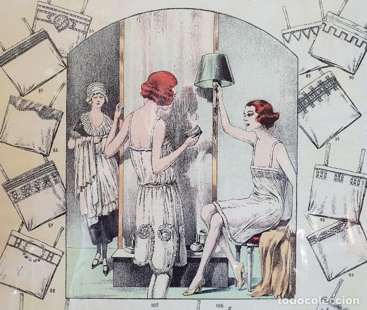 Antigüedades: 6. Taller de costura. Litografía enmarcada en marco de pino. Atelier. Moda. - Foto 3 - 287490428