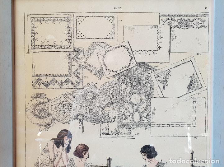 Antigüedades: 7. Taller de costura. Litografía enmarcada en marco de pino. Atelier. Moda. - Foto 3 - 287491008