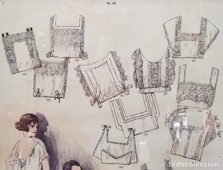Antigüedades: 8. Taller de costura. Litografía enmarcada en marco de pino. Atelier. Moda. - Foto 3 - 287491513