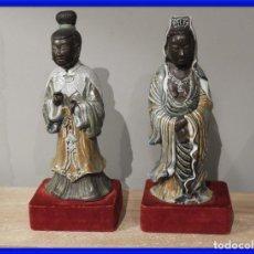 Antigüedades: PAREJA DE FIGURAS DE PORCELANA CHINA CON BONITOS COLORES. Lote 287572033