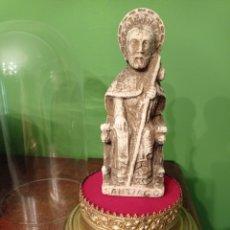 Antigüedades: FANAL O CÚPULA RELIGIOSA,,CON SANTIAGO APÓSTOL,BASE DE LATÓN CON FILIGRANA .. Lote 287610013