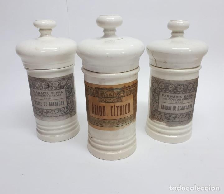 ANTIGUO CONJUNTO DE BOTES DE FARMACIA O ALBARELOS (Antigüedades - Porcelanas y Cerámicas - Otras)
