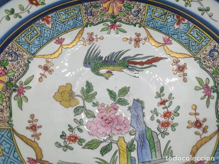 Antigüedades: Ensaladera de estilo oriental en porcelana y bordes en plata de Masriera y Carreras,principios S XX. - Foto 2 - 287711648