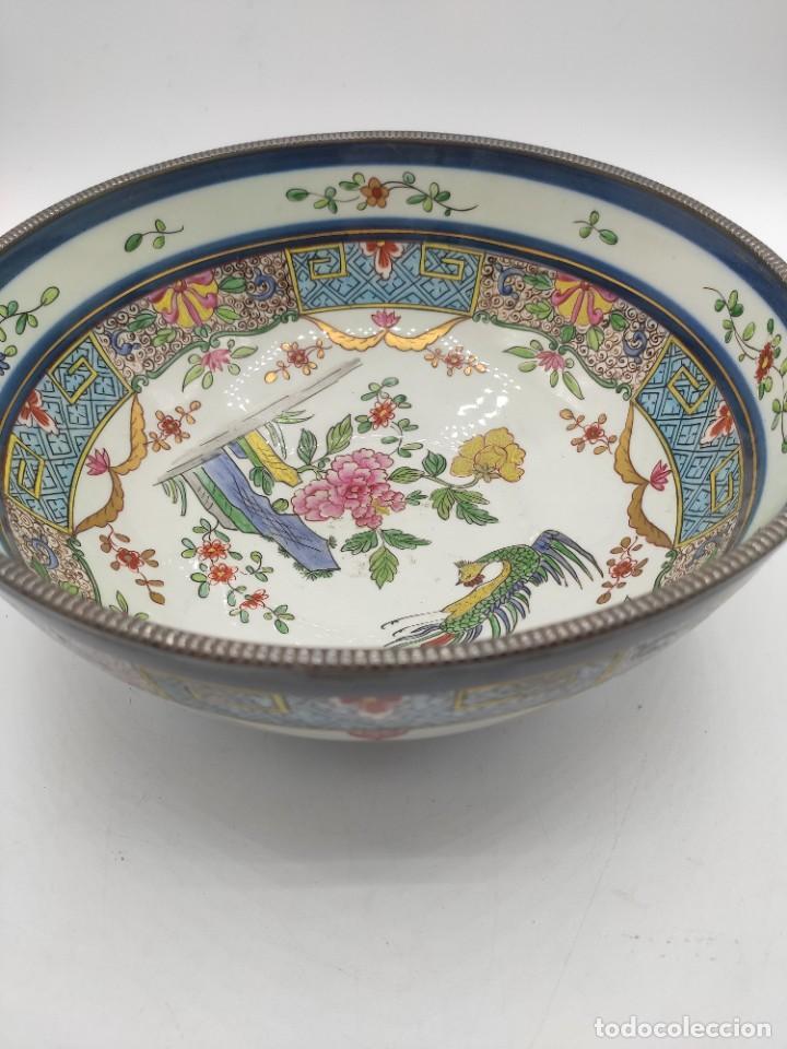 Antigüedades: Ensaladera de estilo oriental en porcelana y bordes en plata de Masriera y Carreras,principios S XX. - Foto 4 - 287711648