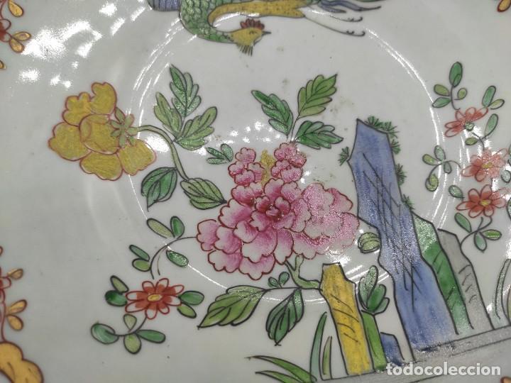 Antigüedades: Ensaladera de estilo oriental en porcelana y bordes en plata de Masriera y Carreras,principios S XX. - Foto 5 - 287711648