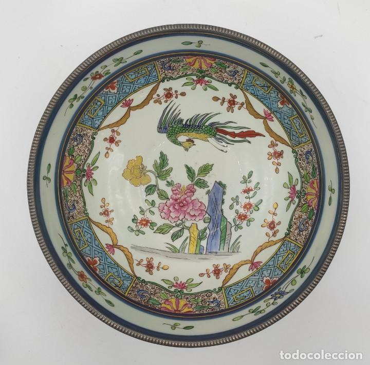Antigüedades: Ensaladera de estilo oriental en porcelana y bordes en plata de Masriera y Carreras,principios S XX. - Foto 6 - 287711648