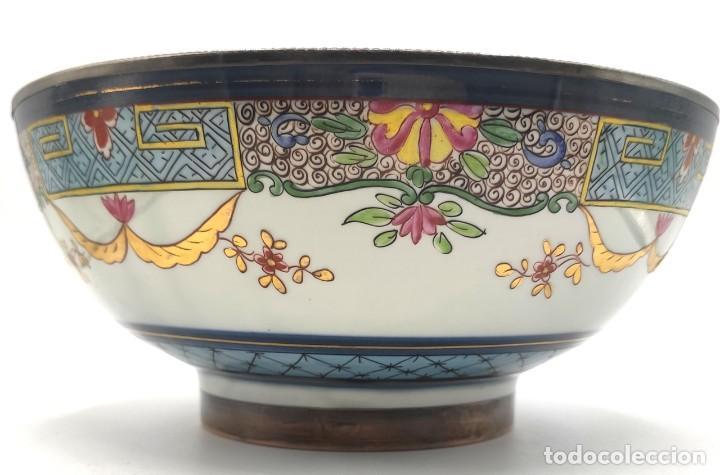 Antigüedades: Ensaladera de estilo oriental en porcelana y bordes en plata de Masriera y Carreras,principios S XX. - Foto 7 - 287711648