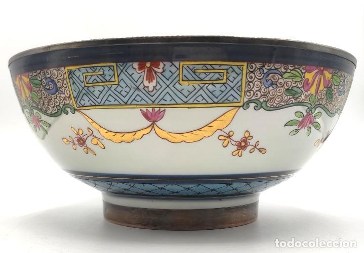 Antigüedades: Ensaladera de estilo oriental en porcelana y bordes en plata de Masriera y Carreras,principios S XX. - Foto 8 - 287711648