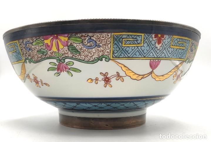 Antigüedades: Ensaladera de estilo oriental en porcelana y bordes en plata de Masriera y Carreras,principios S XX. - Foto 9 - 287711648