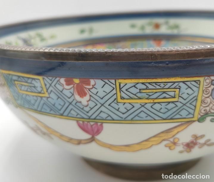 Antigüedades: Ensaladera de estilo oriental en porcelana y bordes en plata de Masriera y Carreras,principios S XX. - Foto 11 - 287711648