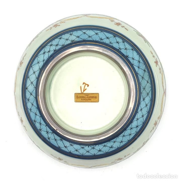 Antigüedades: Ensaladera de estilo oriental en porcelana y bordes en plata de Masriera y Carreras,principios S XX. - Foto 13 - 287711648