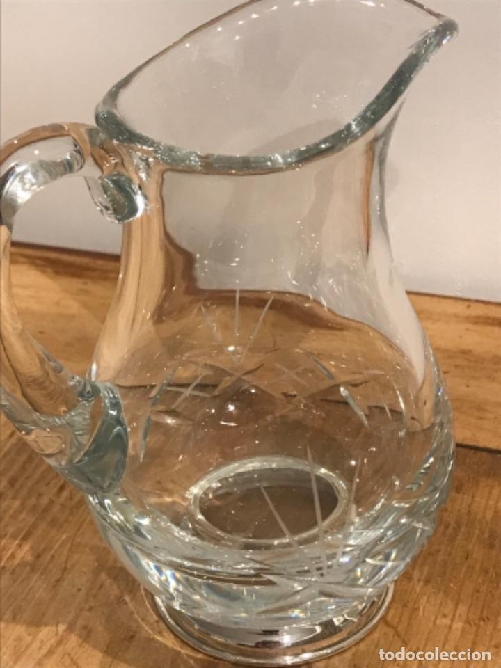 Antigüedades: Jarra cristal tallado y base plateada - Foto 2 - 287754913
