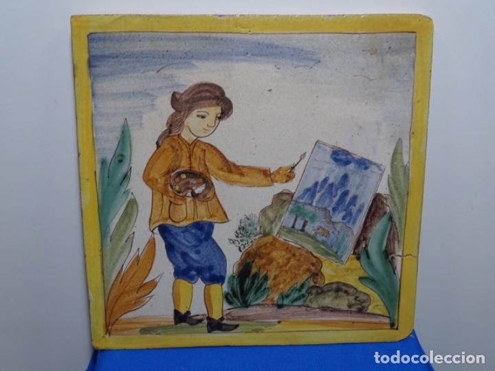 GRAN AZULEJO DE LOS OFICIOS. PINTOR. 26.50X26.50 CM. SIGLO XIX. (Antigüedades - Porcelanas y Cerámicas - Catalana)
