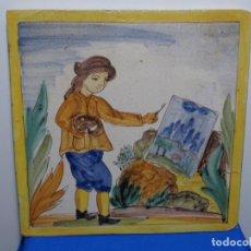 Antigüedades: GRAN AZULEJO DE LOS OFICIOS. PINTOR. 26.50X26.50 CM. SIGLO XIX.. Lote 287793988