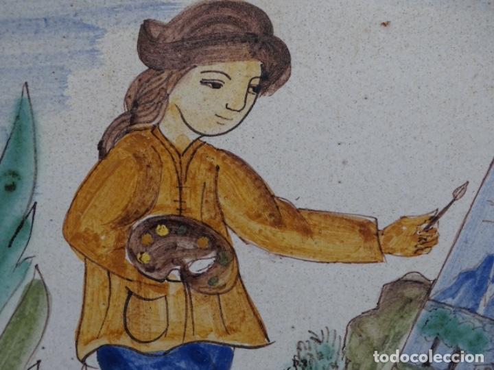 Antigüedades: GRAN AZULEJO DE LOS OFICIOS. PINTOR. 26.50x26.50 CM. SIGLO XIX. - Foto 2 - 287793988