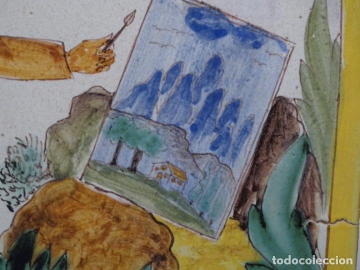 Antigüedades: GRAN AZULEJO DE LOS OFICIOS. PINTOR. 26.50x26.50 CM. SIGLO XIX. - Foto 3 - 287793988
