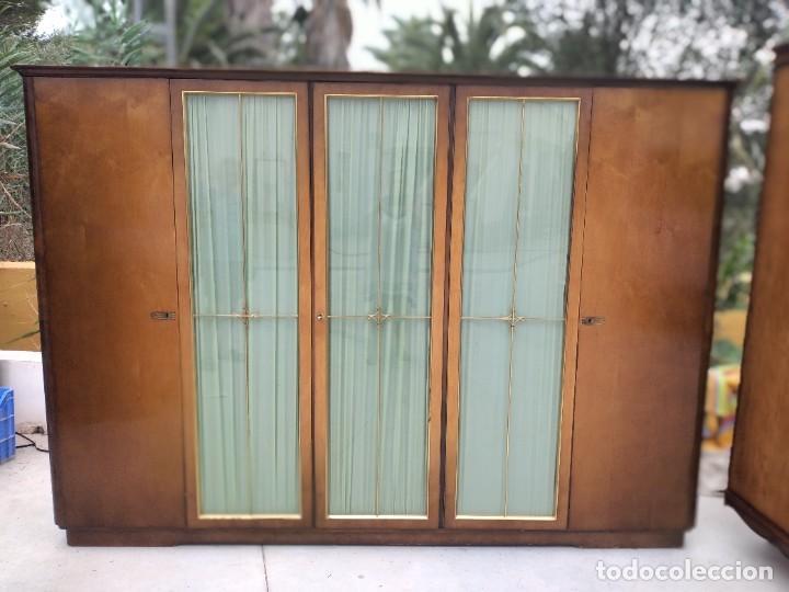 Antigüedades: Antiguo armario de madera de teca,5 puertas,3 de cristal,möbel mann karlsruhe mannheim, años 50/60 - Foto 20 - 287814853