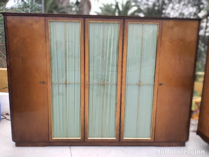 Antigüedades: Antiguo armario de madera de teca,5 puertas,3 de cristal,möbel mann karlsruhe mannheim, años 50/60 - Foto 21 - 287814853