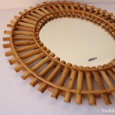 Antigüedades: ESPEJO DE SOL DE MIMBRE. Lote 287815963