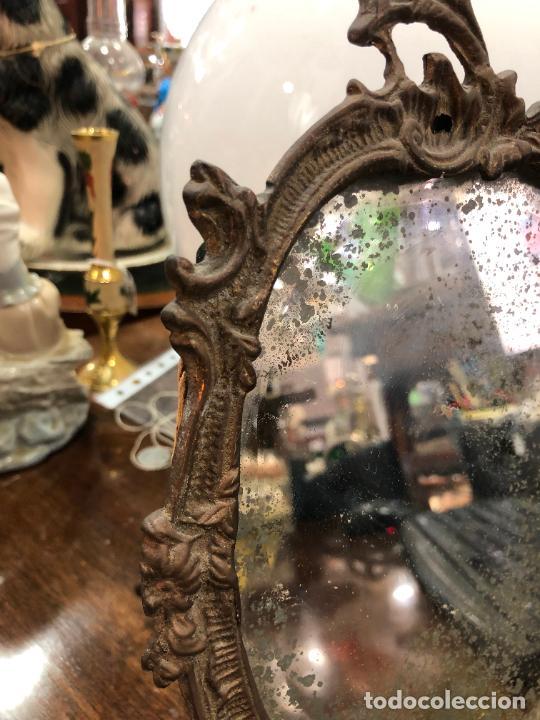 Antigüedades: ESPEJO DE BRONCE - MEDIDA 27X18 CM - Foto 3 - 287851118