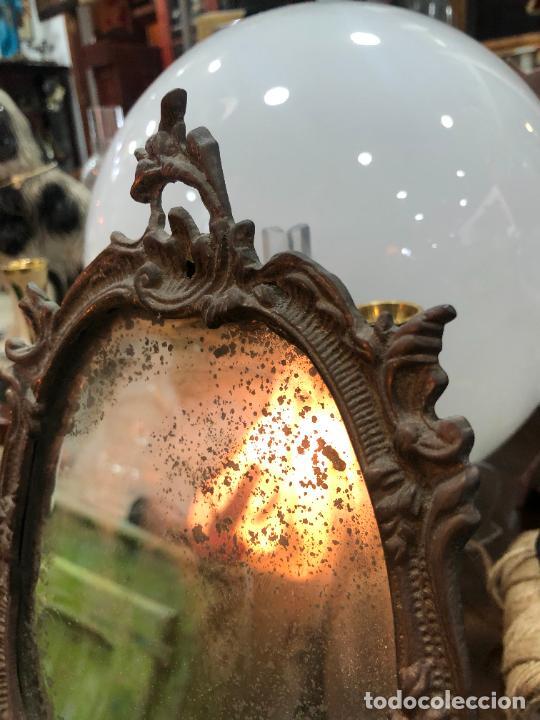 Antigüedades: ESPEJO DE BRONCE - MEDIDA 27X18 CM - Foto 6 - 287851118
