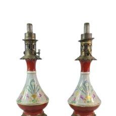 Antigüedades: GRAN PAREJA DE QUINQUÉS. OPALINA PINTADA Y BRONZE. A LARGE PAIR OF OIL LAMPS. ART NOUVEAU. CA 1890. Lote 287854208