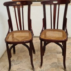 Antigüedades: LOTE DE 2 ANTIGUAS SILLAS DE MADERA Y REJILLA TIPO THONET. Lote 221718542