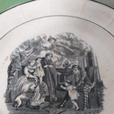 Antigüedades: PLATO INFRECUENTE EN LOZA ESTAMPADA CARTAGENA SIGLO XIX SERIE ROMÁNTICA COSTUMBRISTA FAMILIA. Lote 287909373