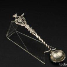 Antiquités: ANTIGUA CUCHARA DE PLATA HECHA DE MONEDA 5 PESETAS. Lote 287910608