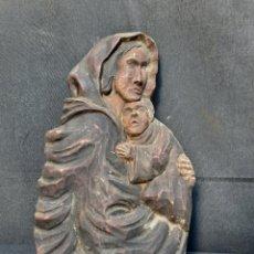 Oggetti Antichi: TALLA DW MADERA DE LA VIRGEN MARIA CON EL NIÑO JESÚS SIGLO XIX. Lote 287914048