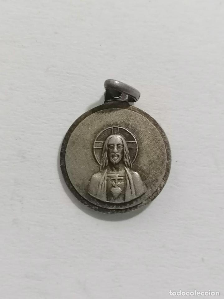 Antigüedades: MEDALLA, VIRGEN CON EL NIÑO Y SAGRADO CORAZON, DIAMETRO 12 MM - Foto 2 - 287921208