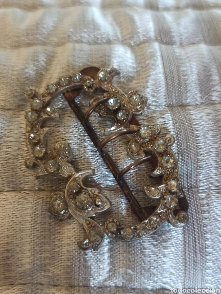 Antigüedades: Hebilla cinturón metal plateado y piedra, cristal época Victoriana - Foto 3 - 287951763