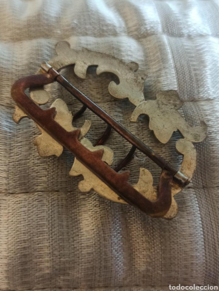 Antigüedades: Hebilla cinturón metal plateado y piedra, cristal época Victoriana - Foto 5 - 287951763