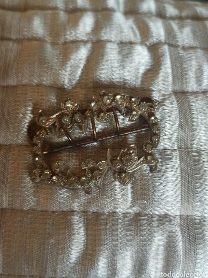 Antigüedades: Hebilla cinturón metal plateado y piedra, cristal época Victoriana - Foto 6 - 287951763
