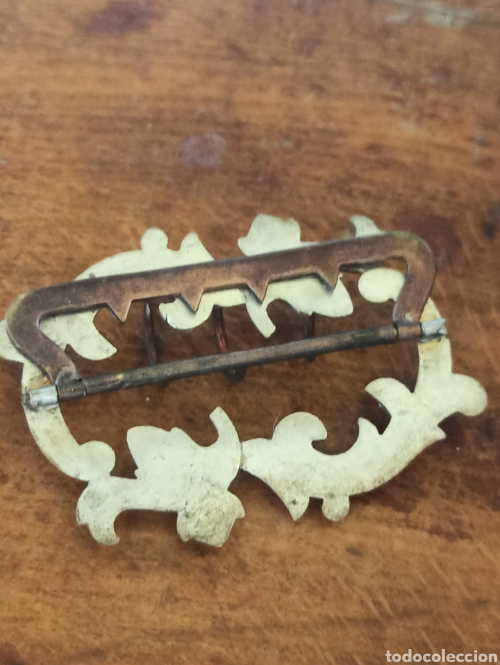Antigüedades: Hebilla cinturón metal plateado y piedra, cristal época Victoriana - Foto 7 - 287951763
