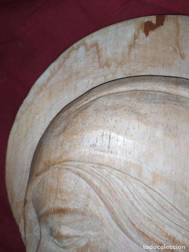 Antigüedades: RELIEVE TALLA RELIGIOSO VIRGEN MARÍA COLGAR MADERA VINTAGE DECORACIÓN MURAL AÑOS 60 70 ANTIGUO - Foto 9 - 287958738