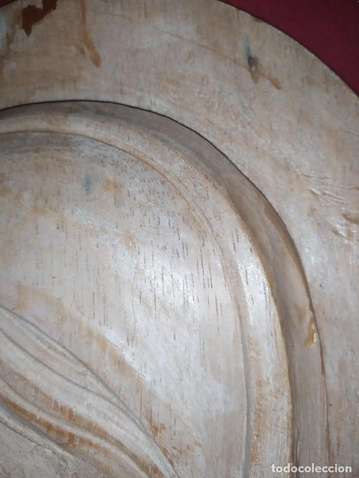 Antigüedades: RELIEVE TALLA RELIGIOSO VIRGEN MARÍA COLGAR MADERA VINTAGE DECORACIÓN MURAL AÑOS 60 70 ANTIGUO - Foto 11 - 287958738