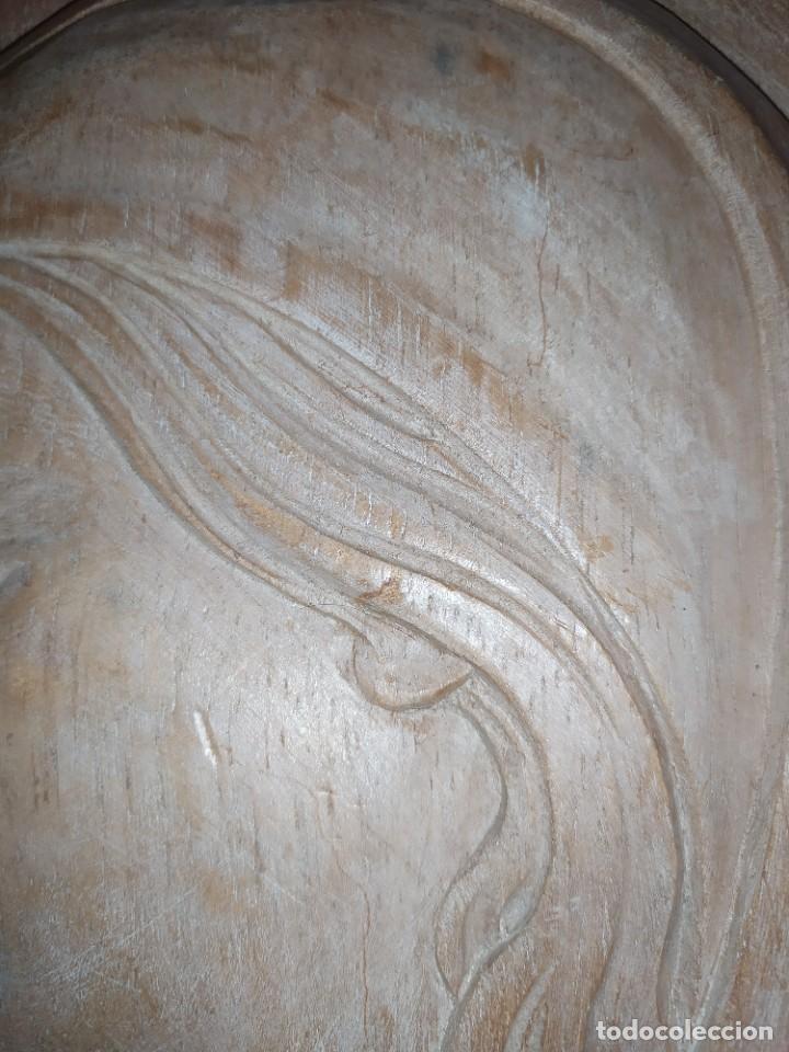 Antigüedades: RELIEVE TALLA RELIGIOSO VIRGEN MARÍA COLGAR MADERA VINTAGE DECORACIÓN MURAL AÑOS 60 70 ANTIGUO - Foto 13 - 287958738