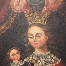 Antigüedades: PINTURA DE VIRGEN Y NIÑO. OBRA DE ARTE IMPORTADA DE AMERICA AUTORIZACION D. INSTITUTO D CULTURA. Lote 287960793