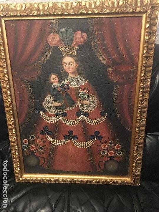 Antigüedades: PIntura de virgen y niño. Obra de Arte Importada de America autorizacion d. instituto d cultura - Foto 2 - 287960793