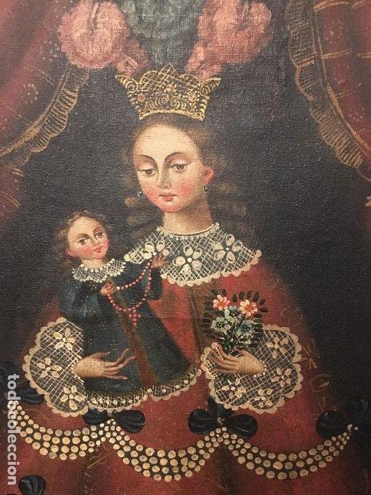 Antigüedades: PIntura de virgen y niño. Obra de Arte Importada de America autorizacion d. instituto d cultura - Foto 3 - 287960793