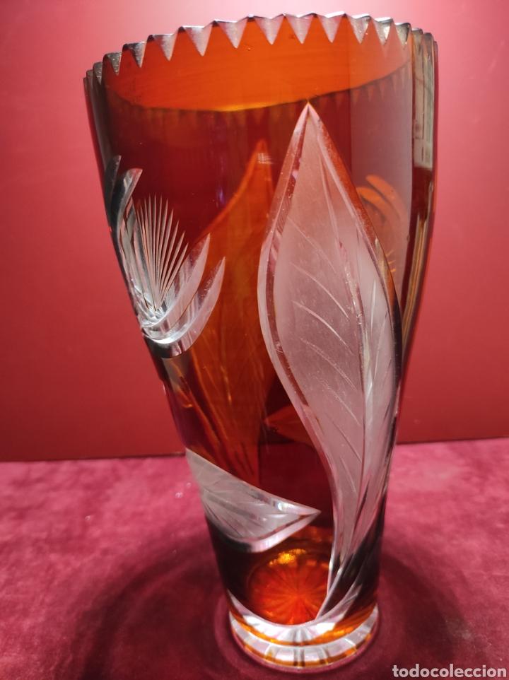 Antigüedades: Florero cristal de Bohemia labrado - Foto 3 - 287962058