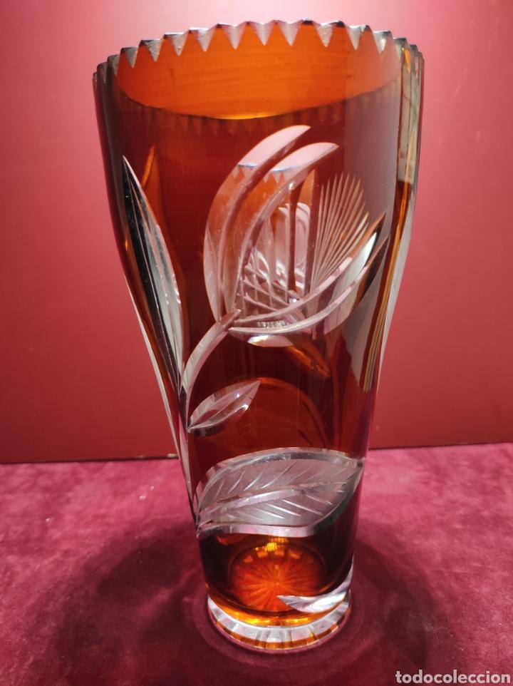 Antigüedades: Florero cristal de Bohemia labrado - Foto 4 - 287962058
