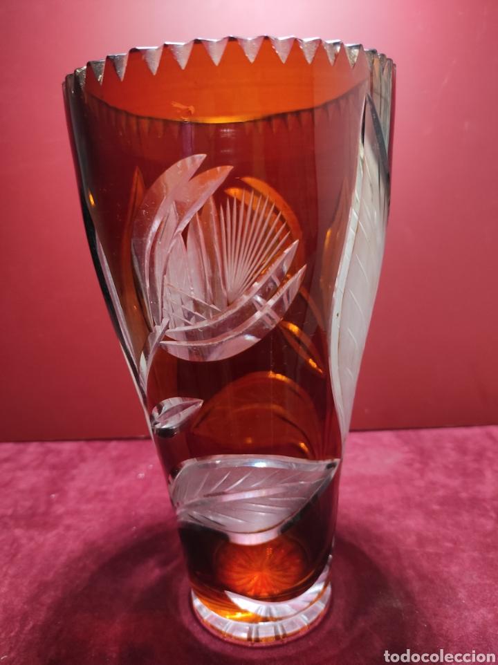 Antigüedades: Florero cristal de Bohemia labrado - Foto 6 - 287962058