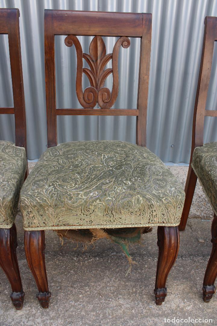 Antigüedades: 6 sillas antiguas de madera noble - Foto 5 - 287978963