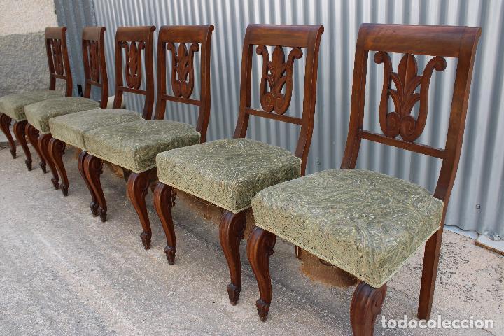 Antigüedades: 6 sillas antiguas de madera noble - Foto 7 - 287978963