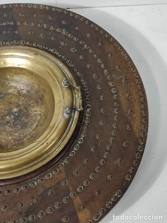 Antigüedades: Antigua Mesa Brasero - Madera de Nogal - Brasero en Bronce - S. XVIII - Foto 5 - 287979923